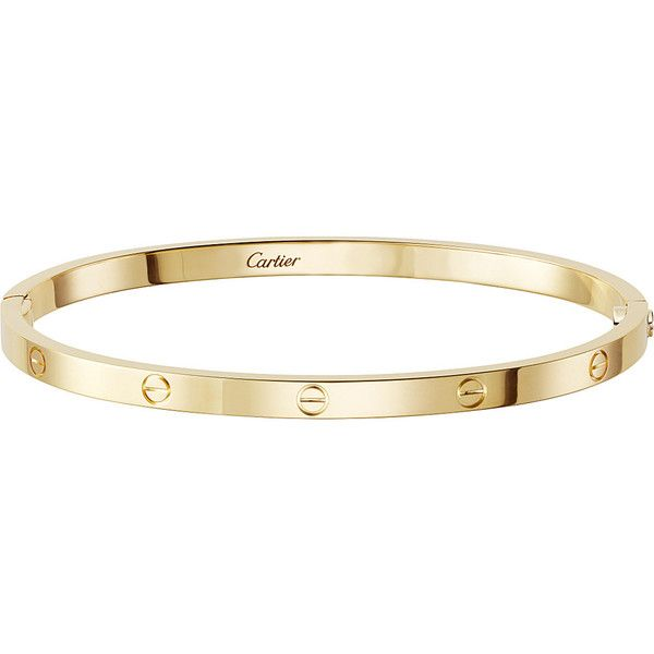 CARTIER LOVE 18ct yellow-gold bracelet small (34.375 NOK) ❤ liked on Polyvore featuring jewelry, bracelets, gold jewellery, gold bangles, yellow gold bangle, gold jewelry and yellow gold jewelry