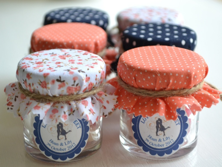 Candy jar favors - 6 personalized mini jars with scallop labels. Coral & navy blue wedding favors.