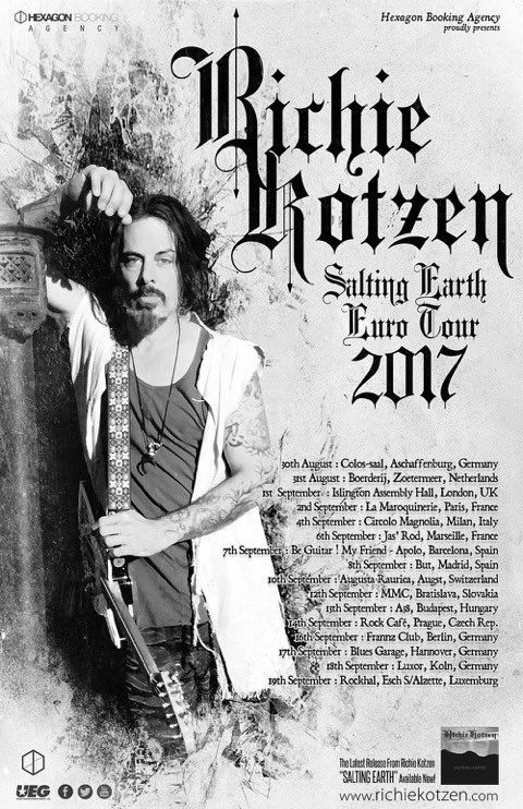 Richie Kotzen has announced a string of tour-dates throughout Europe later this year. He also has several gigs happening both in the US and Brazil, with the whole thing starting off in California i…