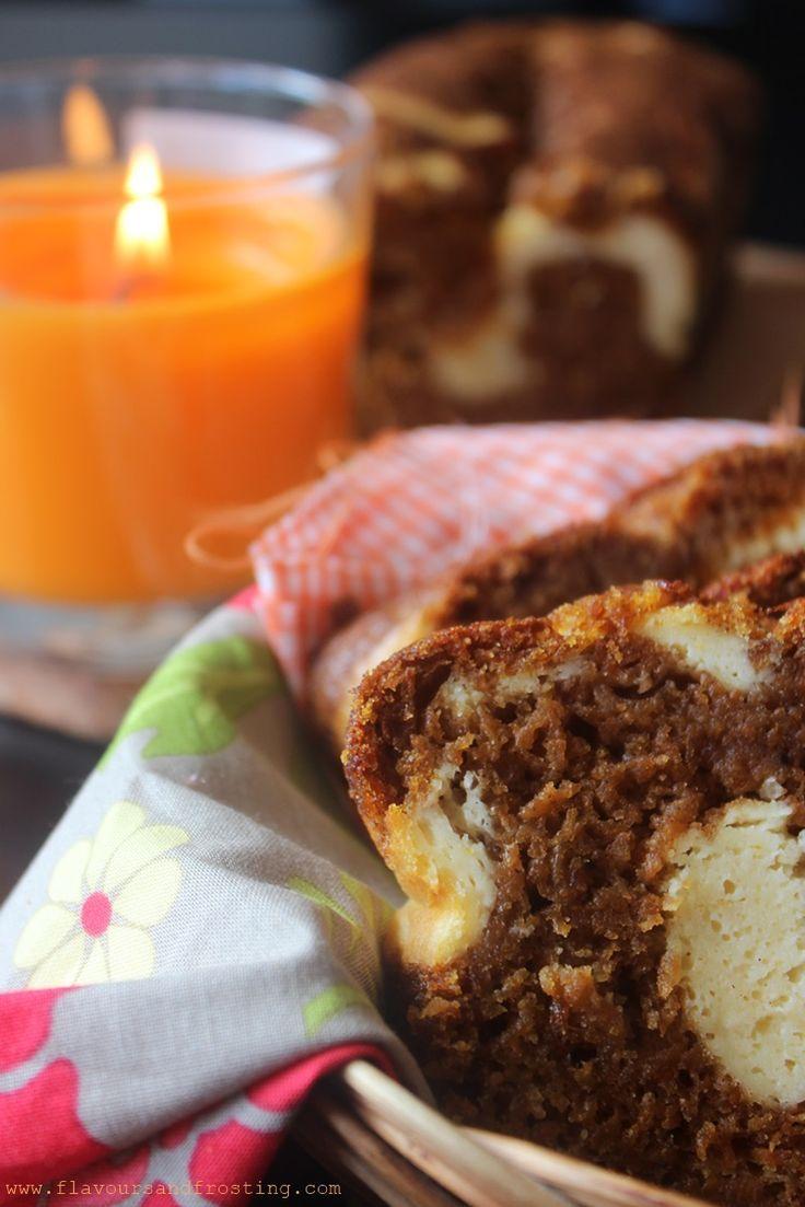 Pumpkin Caramel Cream Cheese Bread Recipe via http://FlavoursandFrosting.com