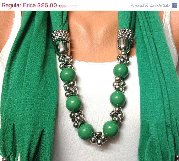 ON SALE green jewelry scarf   green scarf with by BienBijou, $22.50