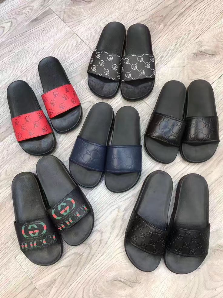 Gucci Man Shoes Casual Slippers Slides All Black