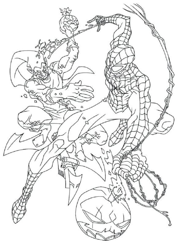 spiderman coloring pages green