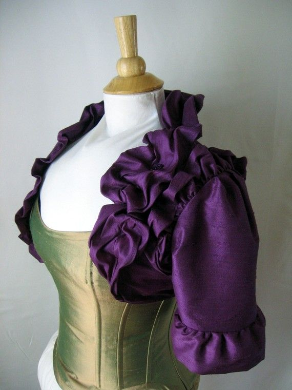 Oh this might be cute and unique... Daphne Silk Ruffle Victorian Bridal Bolero Jacket - Custom Made to Order Wedding Dress Accessory on Etsy, $259.00
