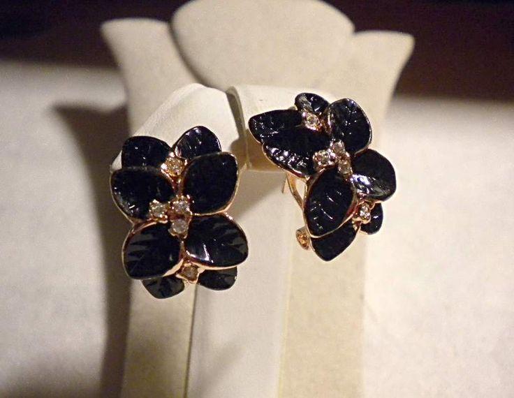 ORECCHINI anella pl.oro rosa foglie smalto nero strass swarovski x foro ch.amer.