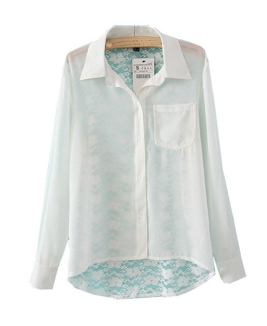 Single Pocket Blouse with Lace Back Details