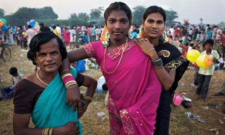 Hijras gather in the village of Koovagam, Tamil Nadu for a Hindu festival celebrating the marriage of Aravan to Mohini, Lord Krishna's female form.  Photograph: Tom Pietrasik