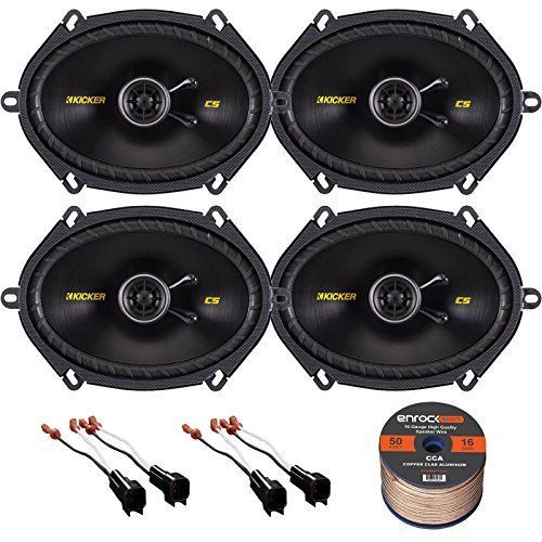 PACKAGE KIT INCLUDES: 2 Sets (total 4) Of Kicker CS684 6 x 8 inch Aftermarket Speaker system + 2 Sets (total 4) Metra 725600 car speaker wiring harness adapter +1 Enrock 16G50FT 50 Foot Wire For Speakers. * CAR AUDIO SPEAKERS: Kicker's 40CS684 6X8 Inch speaker set provides low-end from a tough 6x8 polypropylene woofer, with a polyester foam surround that will stay strong for years to come. The 1/2 PEI balanced dome tweeter takes care of the vocal and instrumental details that'll really bring