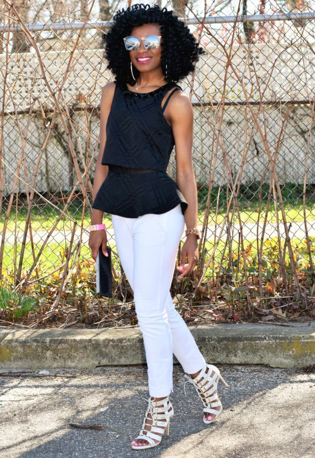 White trousers + black peplum top (1)