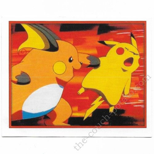 Pokemon Sticker Card  Raichu Pikachu # 063 2x3 inches Merlin 2000 TV show pictures