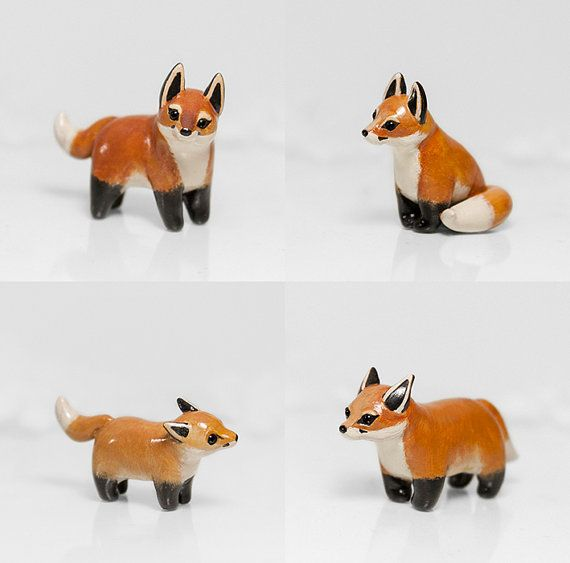 Fox Figurine OOAK Handmade Polymer Clay by RamalamaCreatures
