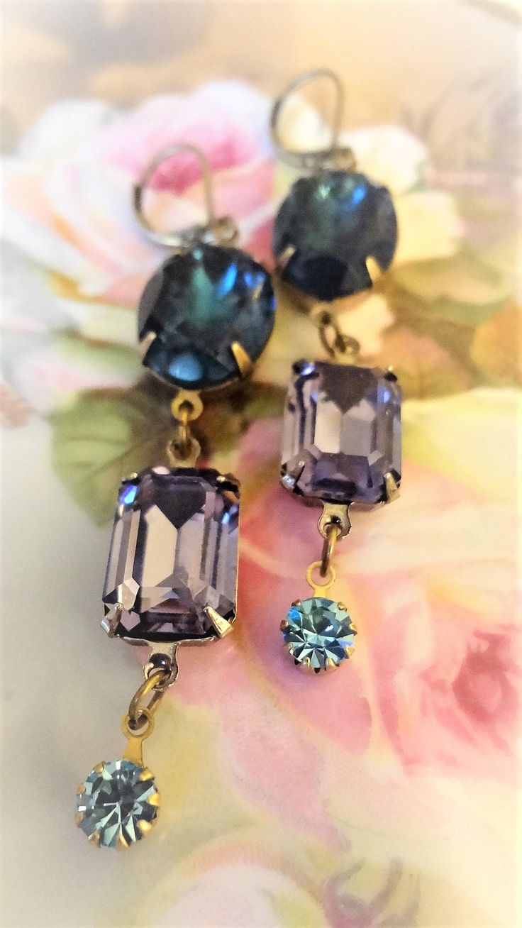 """Thanks for the kind words! ★★★★★ """"These earrings are just beautiful!!! Lovely colors, very creative--- they cheer me up every time I look at them!!!! Thank you!!! :) Your shop is wonderful. """" violetandadelaide http://etsy.me/2hMSBaf #etsy #weddings #jewelry #blue #purple #women #"""