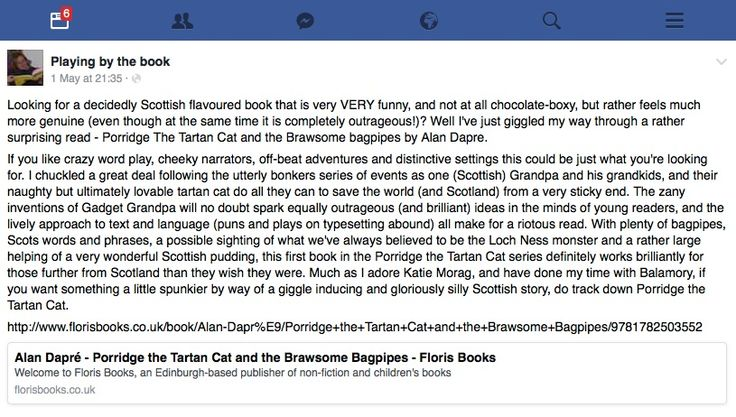 """A very VERY funny & gloriously silly Scottish story""- review of 'Porridge the Tartan Cat & the Brawsome Bagpipes' by blogger, Zoe Toft  of Playing By The Book"