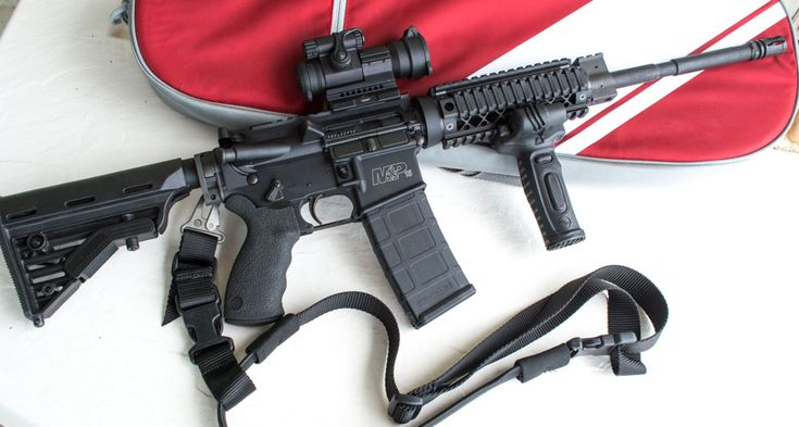 """Transforming A Basic AR-15 To A Home Defense Rifle, The """"after"""" version of the Smith & Wesson M&P 15 OR. It's all geared up for the Crimson Trace Midnight 3 Gun Invitational and home defense use."""