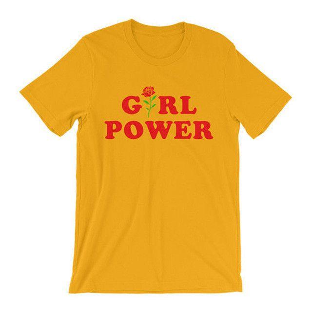 T-Shirt Girl Power Tumblr Shirt Hipster Shirt Flower Rose All Day GRL PWR