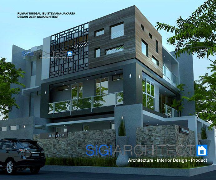 Box House Model Rumah 3 Lantai Hook di Jakarta, pemanfaatan lantai atap sebagai roof garden / taman atap, desain rumah mewah dengan konsep modern minimalis