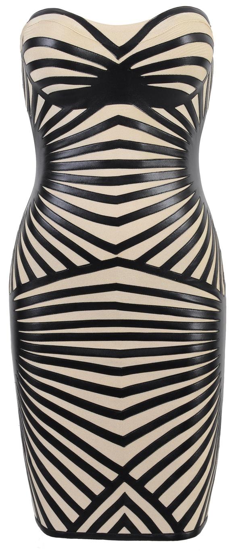 'Aysha' Black Leatherette & Bandage Strapless Dress