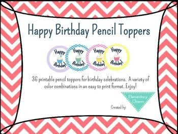 Birthday Pencil Toppers.  Nothing like a birthday pencil to help an excited 7 year old celebrate!
