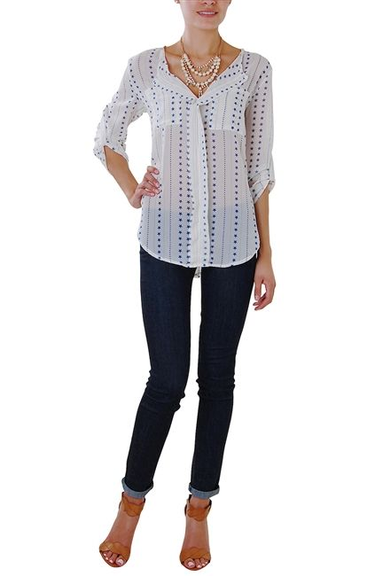 Dotted with a constellation of stars and inspired by classic menswear, this chiffon printed shirt is an exciting update on a classic closet staple.