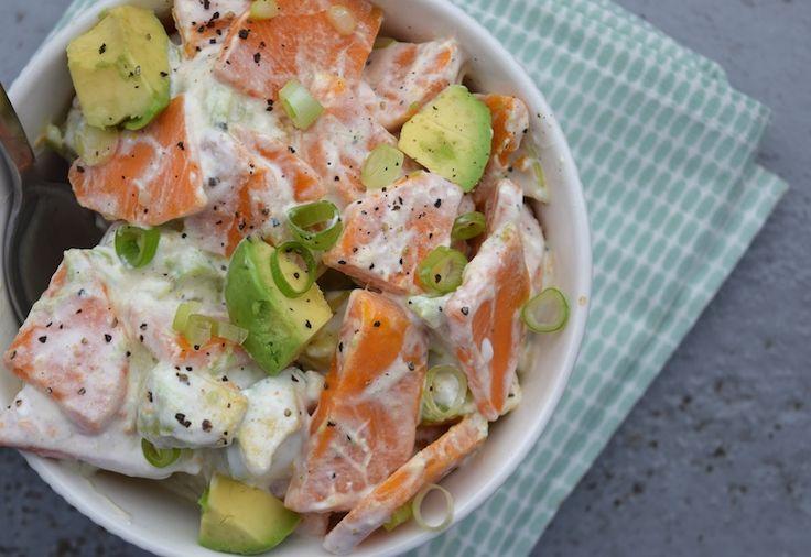 5 or less: Zoete aardappelsalade - hello healthy variant met zoete piepers! Deze light aardappelsalade is zoveel gezonder dan de kant-en-klare variant, maar smaakt wel gewoon écht romig. En lekker, dat ook. - chickslovefood