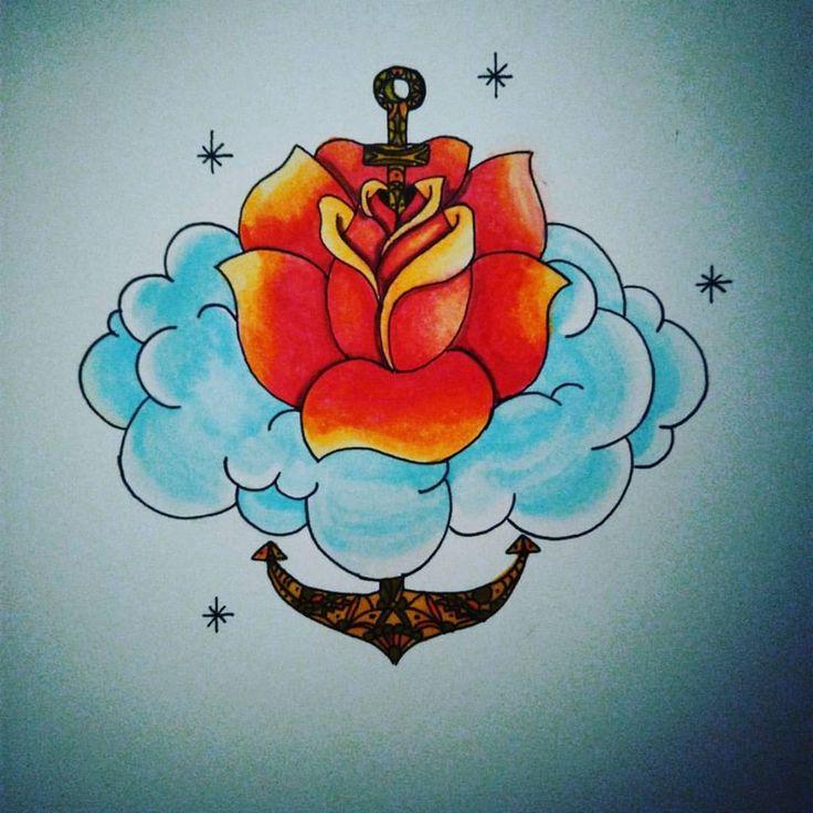 #tattooidea #tattoo #oldschool #rose #cloud #anchor