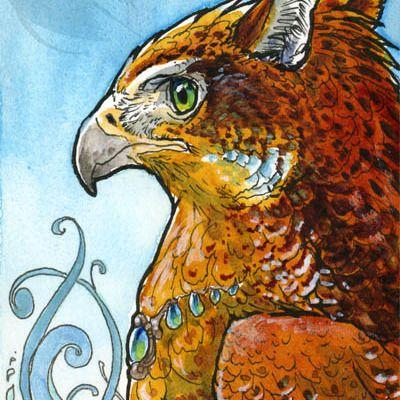 Firey frostcheek gryphon mini watercolor painting