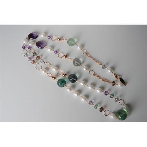 Collana, fluorite, perle di fiume, ametista