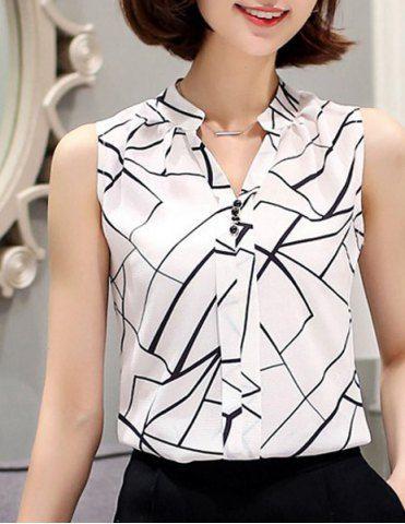 Fashionable V-Neck Sleeveless Printed Chiffon Blouse For Women
