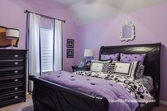 Lavender Bedroom- Teen room decked out in black furniture and white accents by Global Design Dealer Holly Bellomy of Dallas Real Estate Staging and Design...comforter