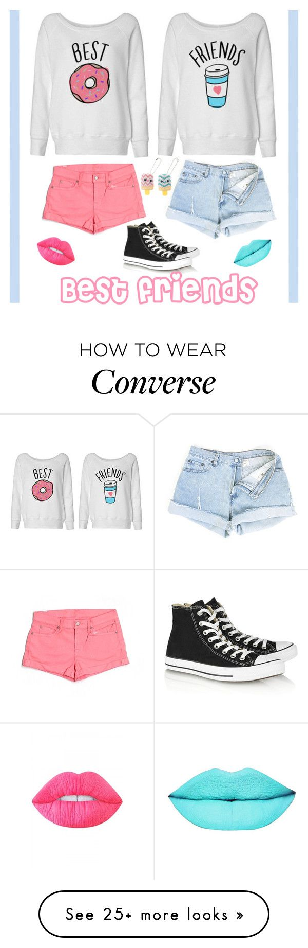 """Best friends"" by tanaaaa on Polyvore featuring 7 For All Mankind, Converse, Lime Crime and claire's"