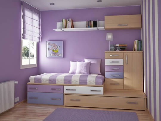 Pinned for a few reasons! Colour. Bed set up as comfy place to sit and read, pillows! Like the blind, but would need a 'real' light blocking blind in there too.