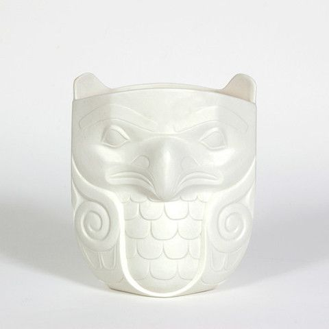 """Porcelain Vase, Eagle & Beaver. Design by Terry Jackson, 8"""" x 6 1/2"""" x 4 1/2"""", design is different on both sides, $130.00 CAD. Available at Northwestcoastgifts.com."""