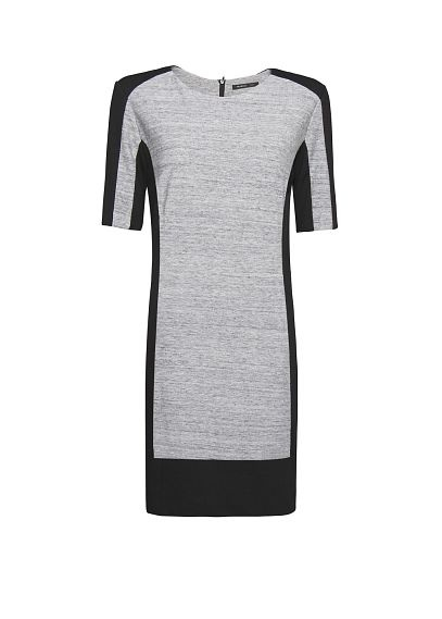 Slim paneled dress in black and gray
