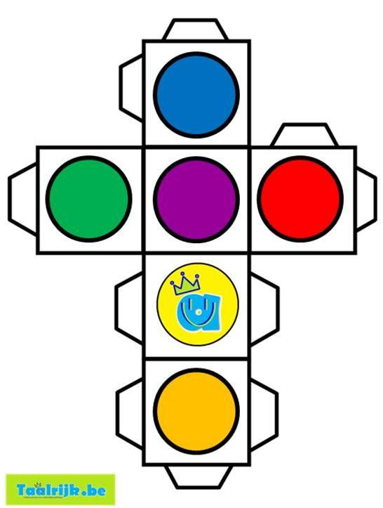 """Kleurendobbelsteen om met anderstalige nieuwkomers en leerlingen kleuren te oefenen. TIP: zoek met de functie ctrl+f naar """"kleurdobbelsteen"""" om deze makkelijk terug te vinden op de website."""