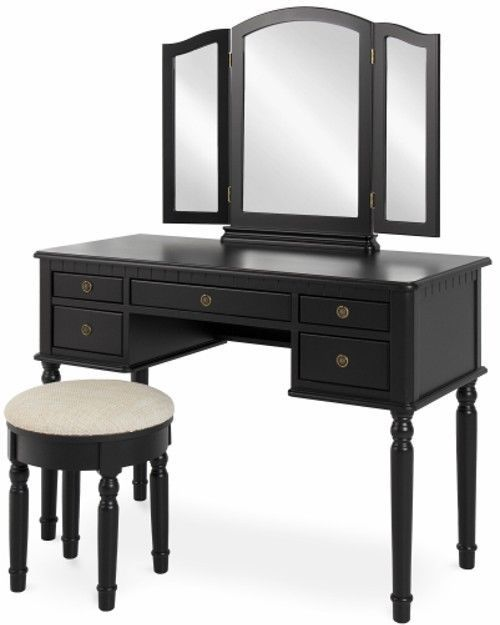 Sy 5 Drawer Black Tri Fold Mirror Round Upholstered Stool Makeup Dressing Table Furniture With A Wood And