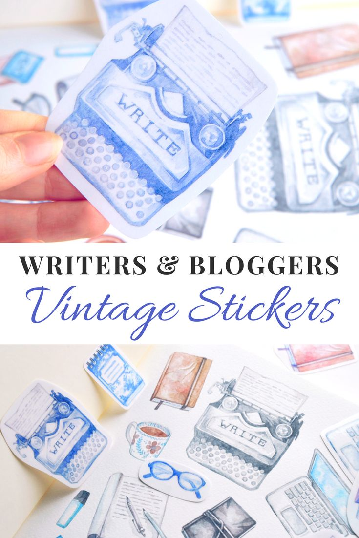 Printable vintage inspired stickers for writers and bloggers. Hand-drawn with watercolor, the typewriter, journals, laptops, and coffee cups that make up this sticker set are perfect for planning your blog post schedule, novel writing, or planner sessions.