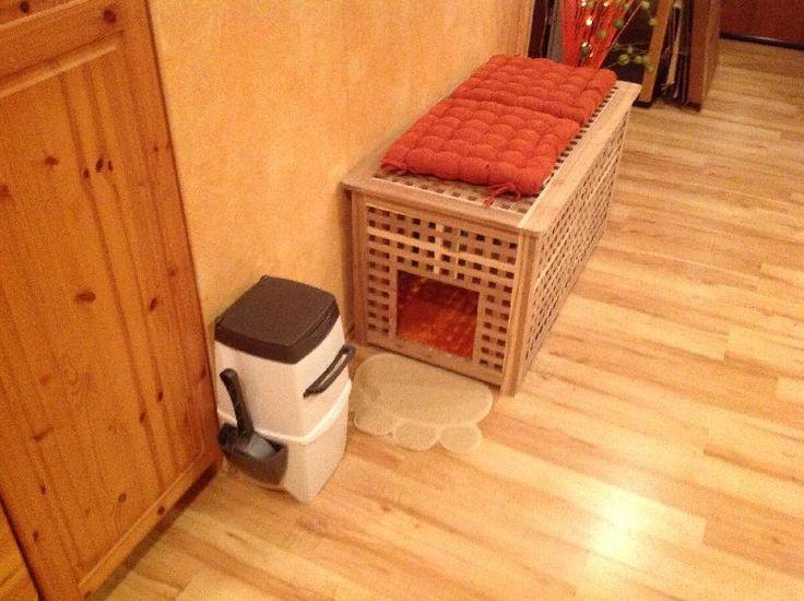 Katzenklo versteckt im Schrank