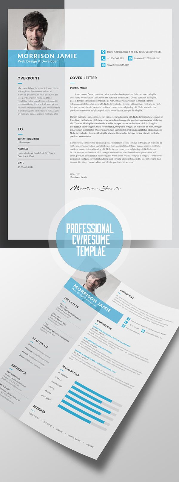 Professional Resume CV Template 26 best
