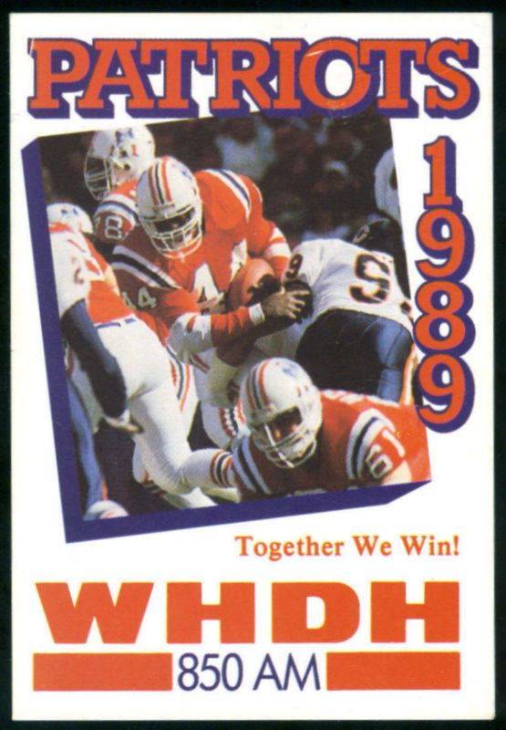 1989 NEW ENGLAND PATRIOTS WHDH RADIO POCKET SCHEDULE FREE SHIPPING #PocketSchedules