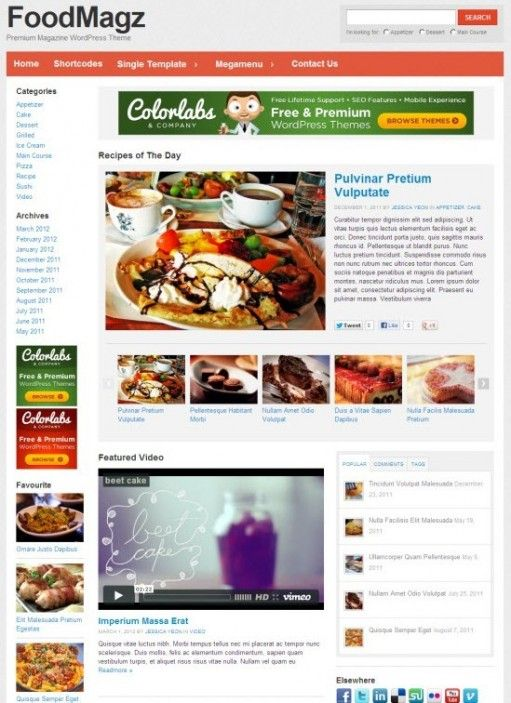 FoodMagz WordPress Theme By ColorLabs :
