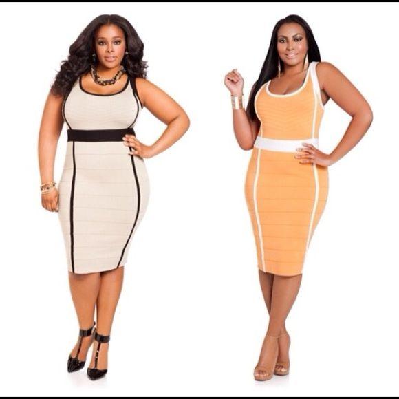 Orange and Cream bodycon dress bodycon bandage style sleek dress Ashley Stewart Dresses