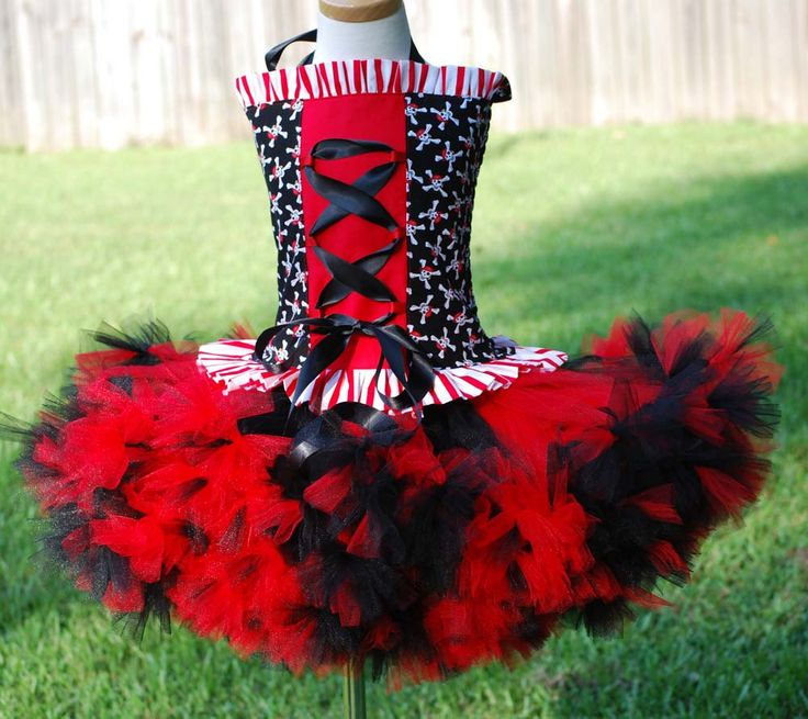 Black and red custom made pirate halloween costume size 6 7 8 tween pettitutu and corset top. $95.00, via Etsy.