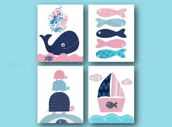 Nautical Nursery Decor Navy Blue Pink Bathroom art by GalerieAnais