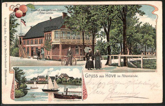 Alte Ansichtskarte: Lithographie Hove, Gasthof zum goldnen Adler, Bes. P. Lührs, Blick zum Ort, Segelboot, Dampfer, Fahrrrad