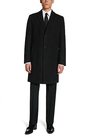 Coat in new-wool blend: 'The Station1', Anthracite