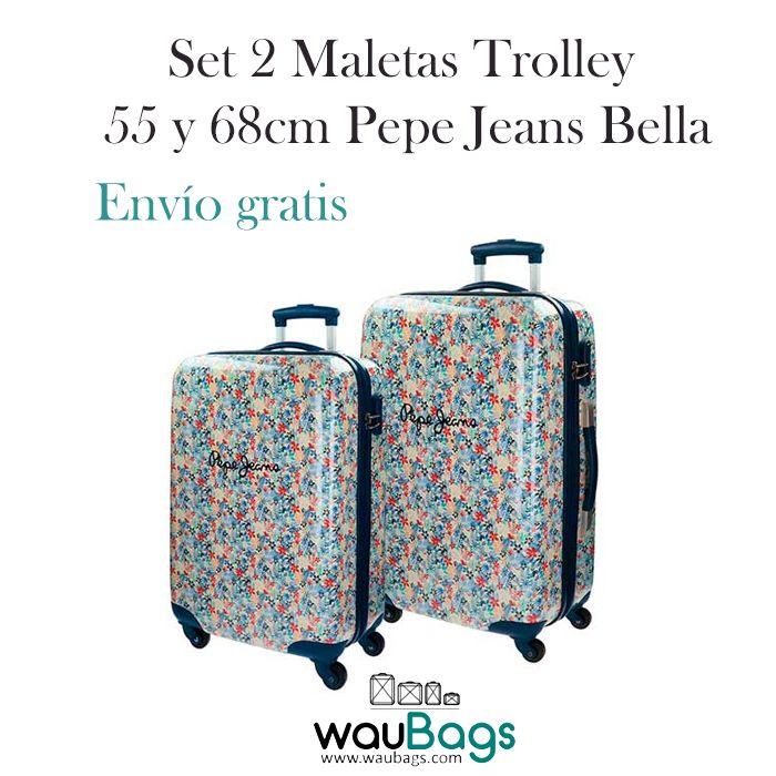 Set de viaje compuesto por 2 originales y prácticas Maletas Trolley de 55 y 68cm Pepe Jeans Bella (una de ellas apta para cabina).Con 4 ruedas que giran en 360º y y un candado de cierre con combinación en el lateral.Están totalmente forradas en su interior, disponen de dos compartimentos separados por cremallera, varios bolsillos y además, traen una bolsa de tela especial para zapatos!! @waubags #pepe #pepejeans #bella #setdeviaje #maletas #trolleys #cabina #waubags #viaje