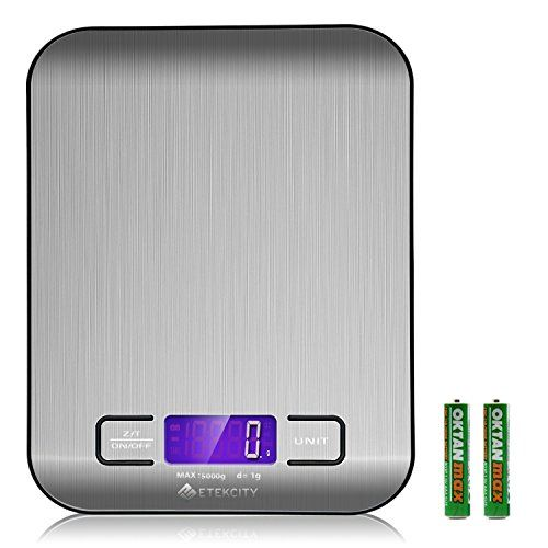 Etekcity Digital Kitchen Scale Multifunction Food Scale, 11 lb 5 kg, Silver, Stainless Steel (Batteries Included) * Click on the image for additional details.-It is an affiliate link to Amazon.