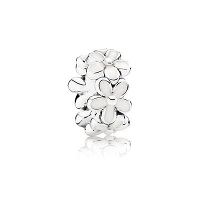 Daisy silver spacer with white enamel