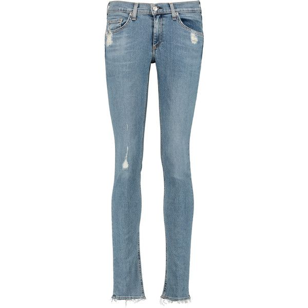 rag & bone - Distressed Mid-rise Skinny Jeans ($135) ❤ liked on Polyvore featuring jeans, light blue, ripped skinny jeans, distressed skinny jeans, destroyed jeans, cuffed skinny jeans and light blue ripped skinny jeans