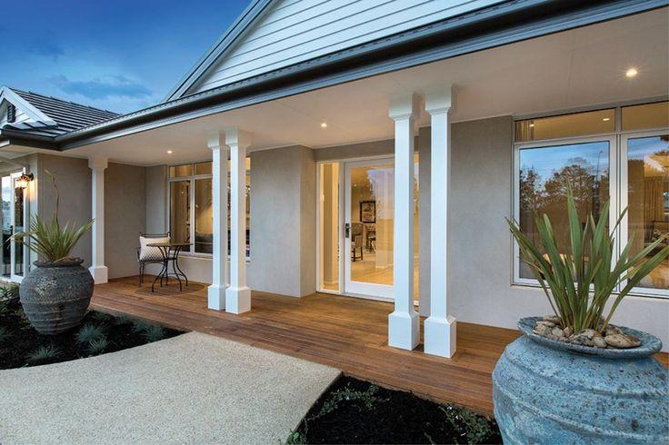 Entrance- chunky posts, decking. Porter Davis Homes - House Design: Hillside